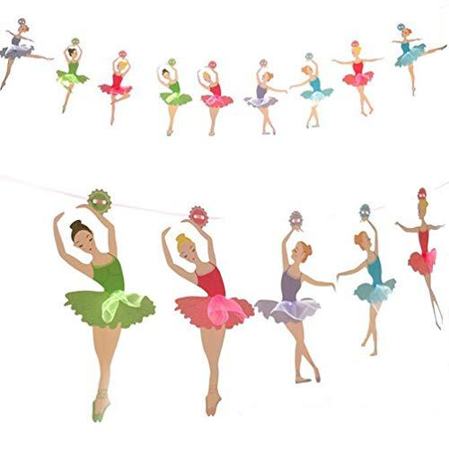 PRETYZOOM Banner decorativo de papel multicolor para niña, bailarina, guirnalda de colores, para niños y adultos, cumpleaños, baby shower, bodas, despedidas de soltera, fiestas, decoración colgante