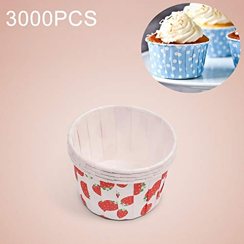 For Sale! HUANGMENG Mold 3000 PCS Strawberry Pattern Round Lamination Cake Cup Muffin Cases Chocolat...
