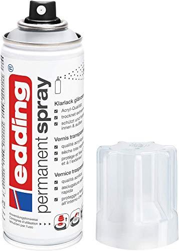 edding 5200 Permanent Spray Klarlack – glänzend – Klarlack in Acrylqualität für ein glänzendes Finish der Lackierung – Erhöht die Kratz-, Stoß- und Schlagkräftigkeit der Lackierung – Inhalt: 200 ml