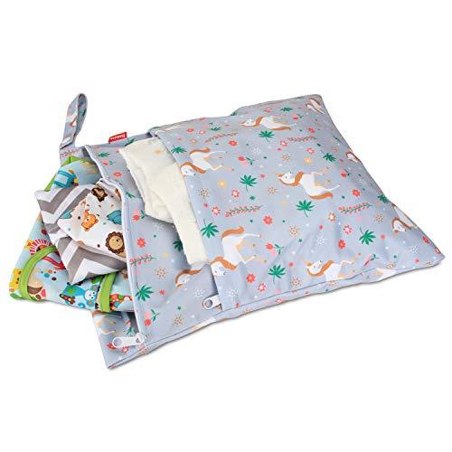 Damai Damero 防水バッグ オムツポーチ 2点セット かわいい 多機能 オムツ 着替え 水着 お風呂用品 タオル 食事セット入れ S+L,ユニコーン