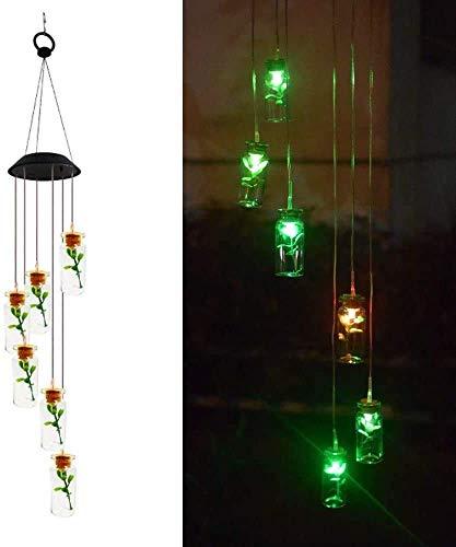 MJYT - Lámpara solar Wind Chimes colibris Dragonfly botella de mariposa, decoración de luces para caminos de jardín al aire libre