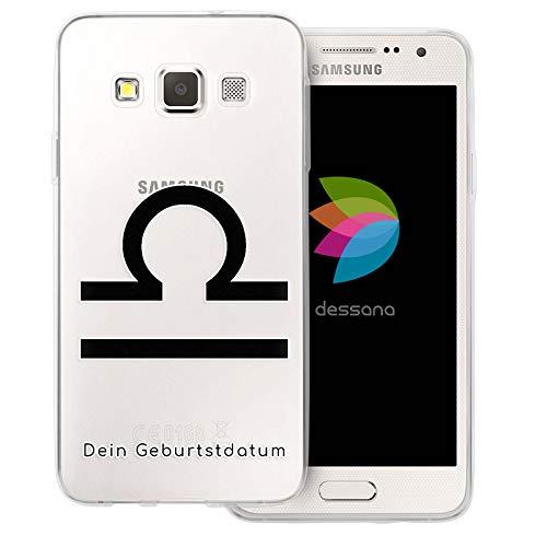 dessana sterrenbeeld met datum transparante silicone TPU beschermhoes 0,7 mm dunne mobiele telefoon soft case cover tas voor Samsung Galaxy A J, Samsung Galaxy A3 (2014-2015), Weegschaal verjaardag