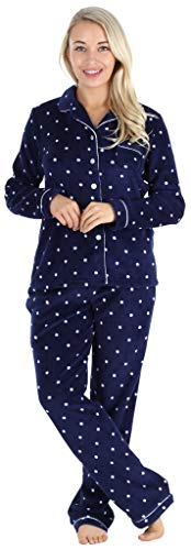 Frankie & Johnny Women's Fleece 2-Piece Button-Down Pajama Set, Navy Polka Dot, 2X
