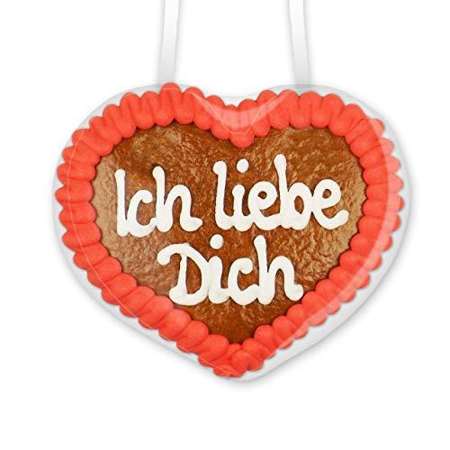 Lebkuchenherz - Ich liebe Dich - 8x8cm - Handgemachtes Geschenk für die Freundin oder den Partner - Ein Liebesbeweis der von Herzen kommt