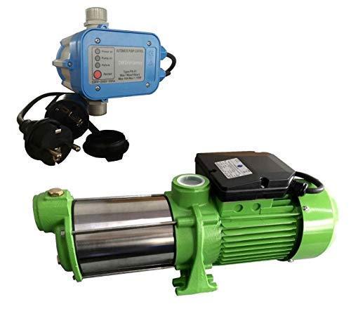 Gartenpumpe Kreiselpumpe INOX HMC145 + Steuerung PS-01 Trockenlaufschutz - Leistung: 1100W - Spannung: 230 V / 50 Hz 9000 L/h - 150l/min. 5 bar. Laufräder aus Edelstahl.