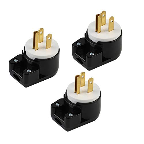 (3xPCS) Right Angle Nema 5-15P 15A 125V AC Plug, [UL CUL] Easy Assembly 90 Degree USA Canada Male DIY Rewirable 12 Directions Adjustable AC Connector