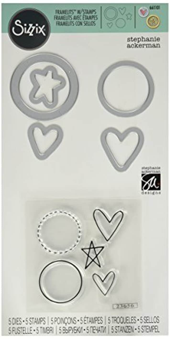 Sizzix Framelits Die Set with Stamps, Circles and Icons, Hearts and Star by Stephanie Ackerman, 5-Pack