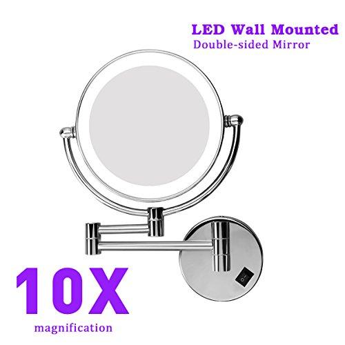 Kosmetikspiegel Wandmontage mit LED Beleuchtung,1/10-facher Vergrößerung aus Kristallglas,Doppelseitig,Edelstahl und Messing,Schminkspiegel Beleuchtet für Badezimmer Spa Hotel Kosmetikstudio(10X)