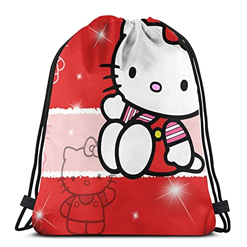 Vbanlya Hello Kitty Cartoon Anime Cute Cat Red Drawstring Backpack Gym Bag Beach Party Favor Bags Wrapping Sackpack Travel Bags Lightweight And Large Capacity