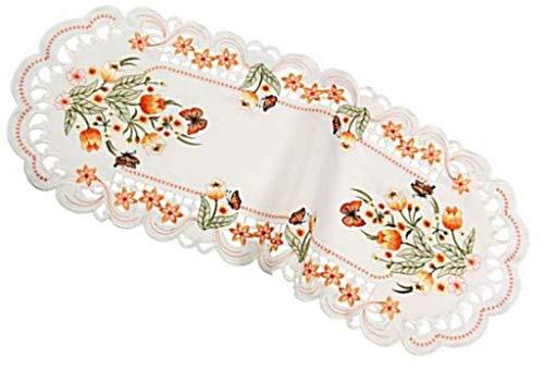 Westernranch tafelloper, tafelkleed, tafelkleed, paasdeken, lente tulpen, vlinder, oranje, crèmewit