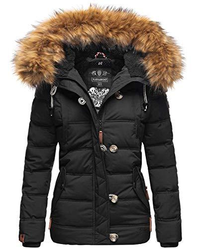Navahoo warme Damen Winter Stepp Jacke Teddyfell Winterjacke Parka Mantel B831 [B831-Zoj-Schwarz-Gr.M]