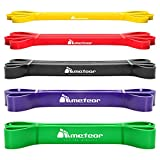 Meteor Essential Power Bands, Resistance Loop Set, Natural Latex Fitness Bands for Workout, Yoga, Weightlifting, Physical Therapy, Rehab, Bench Press, Dead Lift (5PCs Plain Set) from Gym Mart