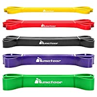 Meteor Essential Power Bands, Resistance Loop Set, Natural Latex Fitness Bands for Workout, Yoga, Weightlifting, Physical Therapy, Rehab, Bench Press, Dead Lift (5PCs Plain Set) by Gym Mart