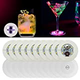Neliky 20pcs LED Coaster, Light Up Coasters, LED Bottle Light, Bottle Glorifier, LED Stickers Coaster Light Up for Drinks, Flash Light Up Cups Perfect for Party Weeding Bar (White)