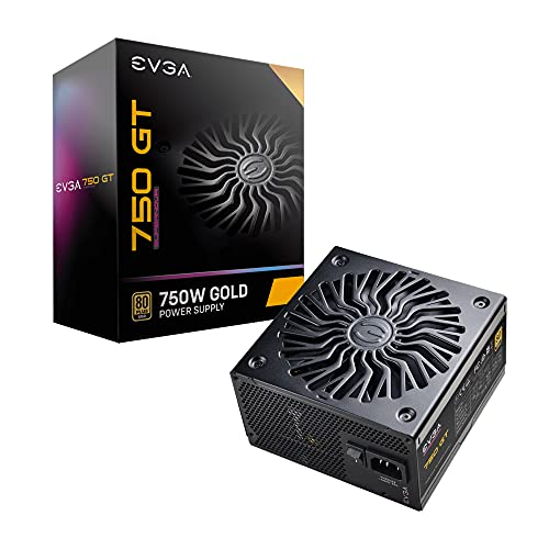 EVGA SuperNOVA 750 GT, 80 Plus Gold 750W, Fully Modular, Auto Eco Mode with FDB Fan, 7 Year Warranty, Includes Power ON Self Tester, Compact 150mm Size, Power Supply 220-GT-0750-Y2 (EU)