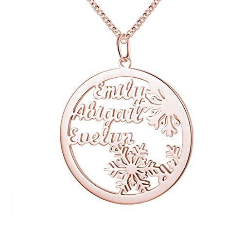 Collar Con Colgante Redondo De Copo De Nieve Familiar De Plata 925 Collar Simple Infinito Personalizado Para Madre Día De La Madre Cumpleaños Collar Pulsera Para Mamá Hija(Oro rosa-24')