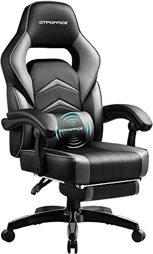GTPOFFICE Massage Gaming Chair with Footrest High Back Ergonomic Massage Office Chair for Adults Adjustable Swivel Leather Computer Chair with Headrest and Massager Lumbar Support,Gray