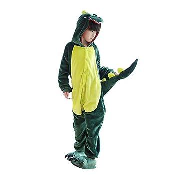 Kids Dinosaur Onesie Pajamas Halloween Costume Child Christmas Cosplay Pyjama Plush Fleece Sleepwear Green 6-7 Years
