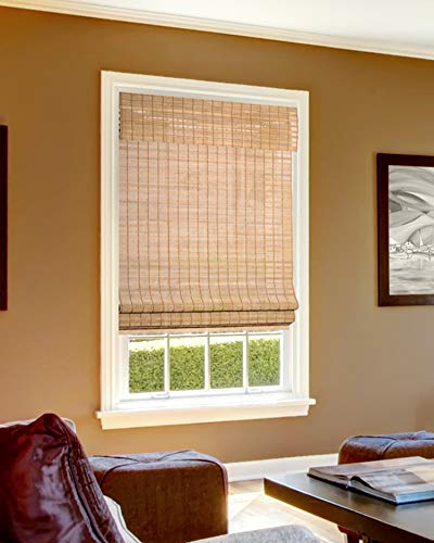 CHICOLOGY Cordless Bamboo Roman Shades, Light Filtering Window Treatment Perfect Resort Feel for Living Dining Room/Bedroom and More, 36'W X 64'H, Squirrel