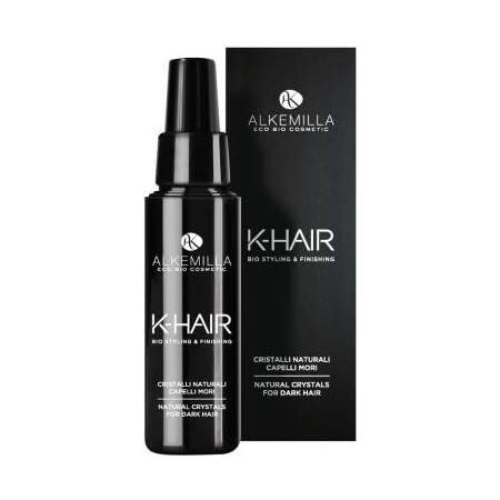 ALKEMILLA -K-Hair - Cristalli Naturali Capelli Mori - Effetto iper shining -Idratazione e lucentezza - Con Acido Jaluronico e Vitamina E - 50 ml