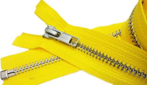 Zipperstop Wyprzedaż 81 cm kurtka zamek błyskawiczny (specjalny niestandardowy) YKK #5 metal aluminiowy - rozdzielanie średniej wagi - kolor cytrynowy żółty 504 (1 zamek błyskawiczny/opakowanie)