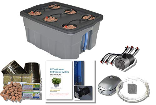 Hydroponic Growing System Self-Watering DWC Bubbler Kit # 4-6 H2OtoGro