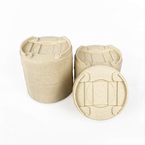 MIIX HOME Betterhöhung aus Bambusfaser, 8 Stück, rund, um 2.5-5 cm haltbar und stapelbar & Verstellbare Betterhöhungen, hebt für Bettrahmen, Sofa-Ständer oder Möbelerhöhungen