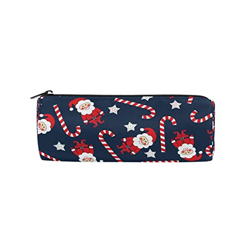 Pencil Bag Christmas Santa Claus Star Pattern, Pencil Case Pen Zipper Bag Pouch Holder Makeup Brush Bag for School Work Office