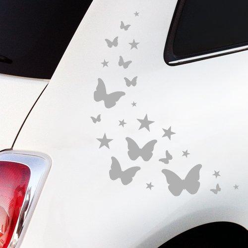 Wandkings.de Autoaufkleber Schmetterlinge mit Sternchen Sticker Set - 23 Aufkleber auf DIN A4 Bogen, schwarz - erhältlich in 27 Farben