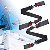 Ski Straps & Pole Carrier - Shoulder Sling Protector Holders, 2 Pack Adjustable Anti Scratches Skiing and Backcountry Gear Boots Transportation Easy Tool Hands-Free Ski Accessories for Kids Women Men