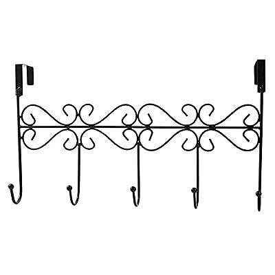 Rbenxia Over the Door 5 Hanger Rack - Decorative Metal Hanger Holder for Home Office Use