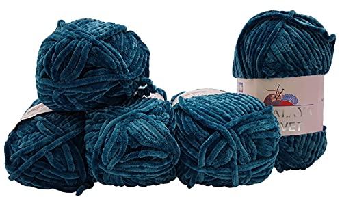 Himalaya Velvet 90048 - Ovillo de lana para tejer (5 ovillos de 100 g, micropoliéster, 500 g), color azul petróleo