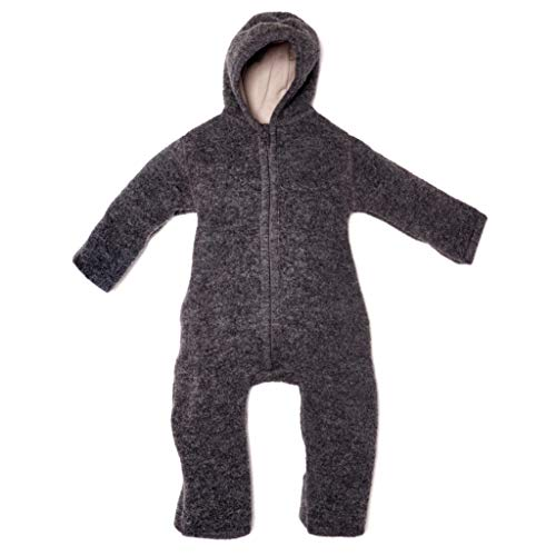 Halfen Walkanzug Baby (100% Made in Germany) - Walk Baby Overall, Babyoverall aus Walkwolle (Bio Natur Schurwolle), Walkoverall mit Kapuze, Farbe: Schiefer,86/92