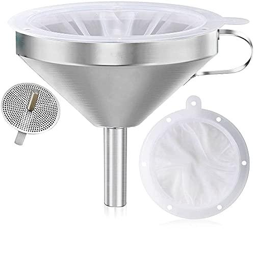MZY118 Embudo de Acero Inoxidable, con Filtro de Alimentos de Malla 200, Colador de Filtro de Pantalla de Filtro de Embudo de Cocina Desmontable