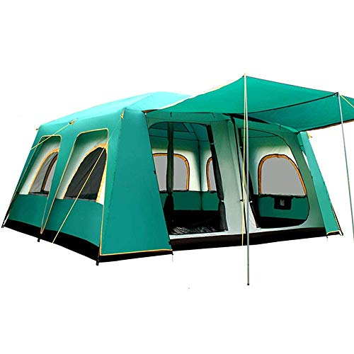 WY-YAN Tent Wind Fourth Quarter Stand-alone Two-door Tent Camping Tent Immediate 16 People Backpacking Climbing Fishing 460 * 360 * 210 Cm for Outdoor Hiking (Color : Green, Size : 460X360X210cm)