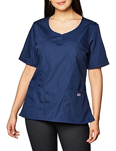 CHEROKEE Women's Workwear Scrubs V-Neck Top, Navy, Large