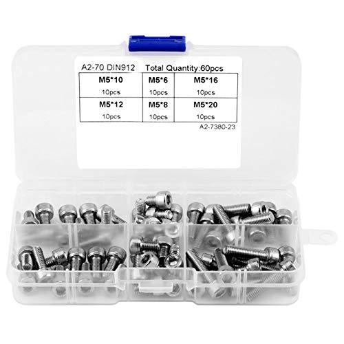 Tornillos de cabeza de casquete 60PCS M5 Tornillos de cabeza hueca hexagonal de acero inoxidable Sujetadores Conjunto de accesorios con caja de plástico