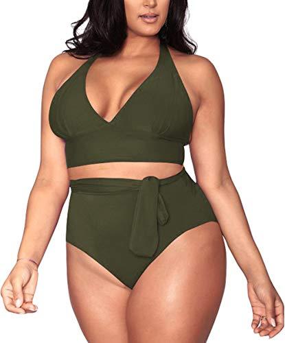 Women's 2 Pieces Plus Size Swimwear High Waist Halter Bikini Swimsuits Army Green XL