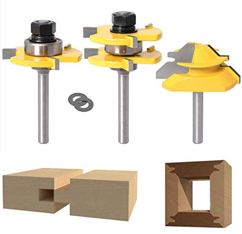 Lock Miter 45 Degree Joint Router Bits + 2Pcs Tongue and Groove Set [1/4-Inch Shank], APLUS 45° Lock Mitre Glue Joint Router Bit + Router Bit Set 3 Teeth T Shape, Wood Milling Cutter Woodworking Tool