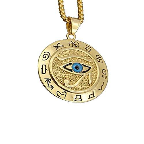 LIANNAO Herren Edelstahl Kette mit Anhänger, Oval/Rund altes ägyptisches Auge des Horus Halskette mit Anhänger,Amulett Schmuck Kette, Hip Hop ,24 Zoll Kette,Gold.Silbe.