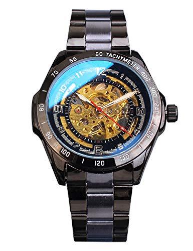 Shenhua - Orologio da polso da uomo, con movimento a scheletro, in vetro blu, movimento dorato