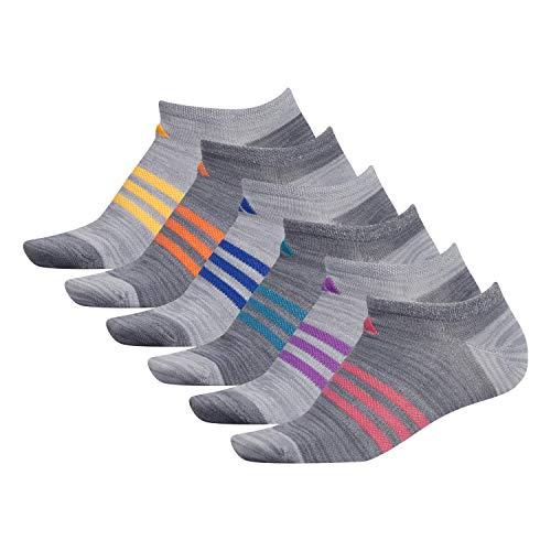 adidas Women s Superlite No Show Socks (6-Pair), Grey - Onix Space Dye Clear Onix - Grey Space Dye Real, Medium, (Shoe Size 5-10)