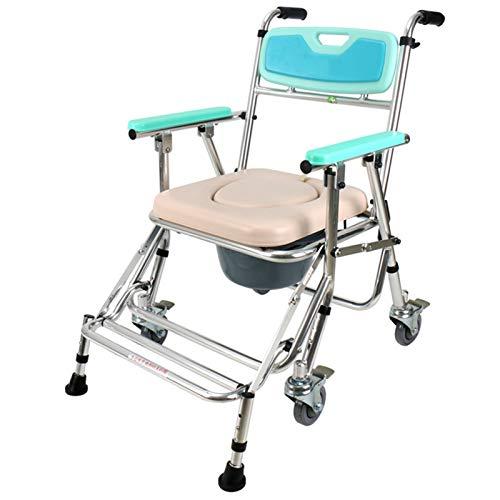 Toilettenstuhl Mit Rollen Auch Zum Duschen, WC Stuhl, Klappbare Kommode Stühle mit Rädern für Behinderte, Behinderte, Senioren