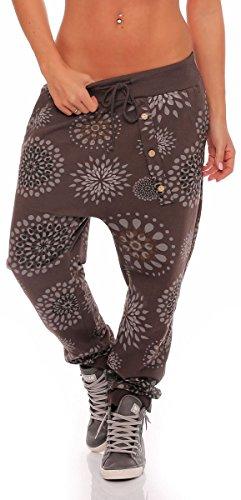 Malito Pantaloni con Fiori Print Boyfriend Aladin Sbuffo Pantaloni Pump Baggy Yoga 3381 Donna Taglia Unica (Marrone)
