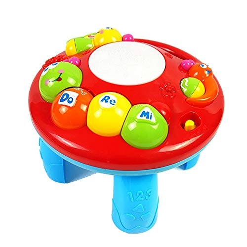 Affordable Jeterndy Toddlers, Toy for Boys and Girls Musical Learning Table Infant and Toddler Cartoon Toys Creative Children's Music Multifunctional Study Table for Toddler Children Preschool Education