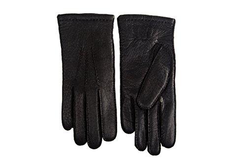 Herren Peccary Handschuhe Handgenäht mit Kaschmir Schwarz (9, Schwarz)