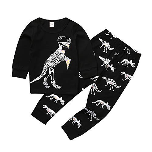 feiXIANG T Shirt Tops Hosen Outfits Baby Langarmshirt Baumwolle Hoodie Hose Neugeborene Boy Brief Kleidung Set (Schwarz 1, 120)