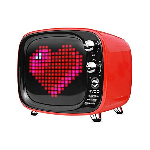 ZTKBG draagbare bluetooth-luidspreker, intelligente wekker pixel-kunst, doe-het-zelf, led-licht aanmelden decoratie, rood