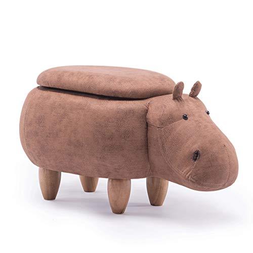 PLL Creatieve cartoon kaki hippo opbergkruk schoenen bank bank woonkamer cartoon massief houten kruk test schoenen kruk