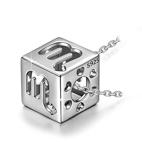 Kate Lynn 12 Constellation Scorpio Hollow Symmetry Cubic Anhänger, 925 Sterling Silber Halskette für Frauen, Frau Schmuck Geschenk, Weihnachten Geburtstagsgeschenk, Box-Paket